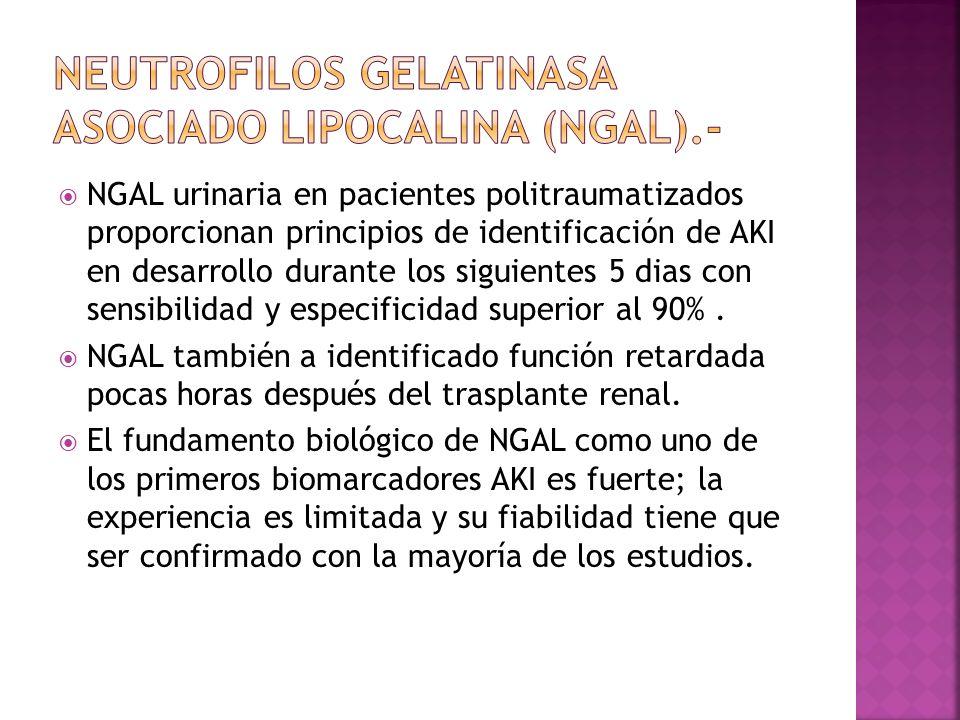 NGAL urinaria en pacientes politraumatizados proporcionan principios de identificación de AKI en desarrollo durante los siguientes 5 dias con sensibil