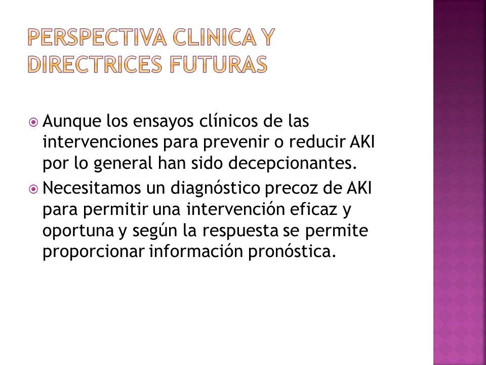 Aunque los ensayos clínicos de las intervenciones para prevenir o reducir AKI por lo general han sido decepcionantes. Necesitamos un diagnóstico preco