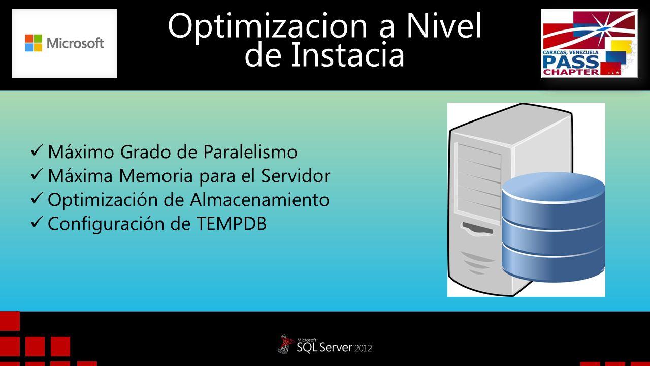 Optimizacion a Nivel de Instacia Máximo Grado de Paralelismo: Para los servidores que utilizan más de ocho procesadores, utilice la siguiente configuración: MAXDOP = 8 Para los servidores que utilizan procesadores de ocho o menos, utilice la siguiente configuración: MAXDOP = 0 a N