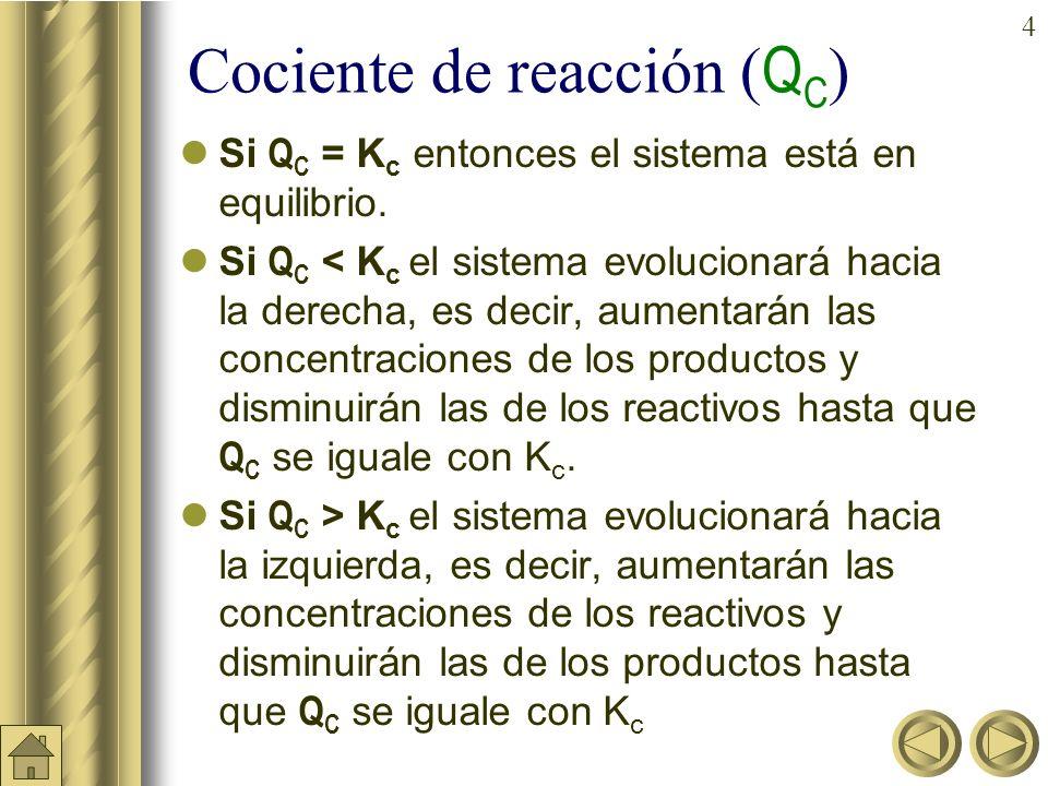 4 Cociente de reacción ( Q C ) Si Q C = K c entonces el sistema está en equilibrio.