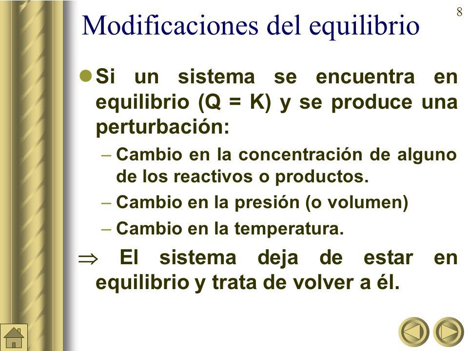 8 Modificaciones del equilibrio Si un sistema se encuentra en equilibrio (Q = K) y se produce una perturbación: –Cambio en la concentración de alguno de los reactivos o productos.