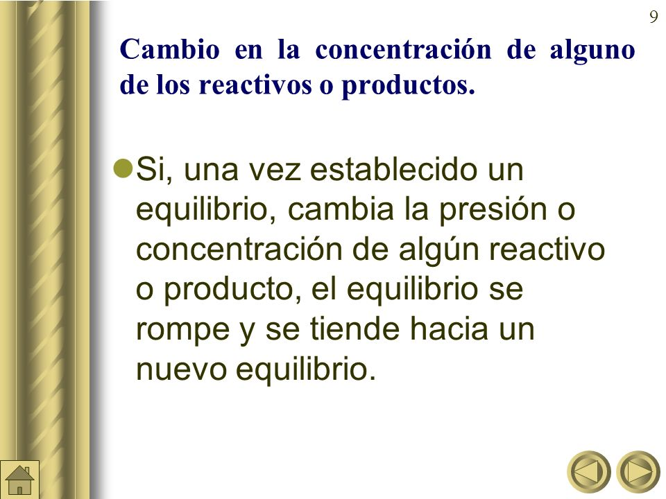 9 Cambio en la concentración de alguno de los reactivos o productos.