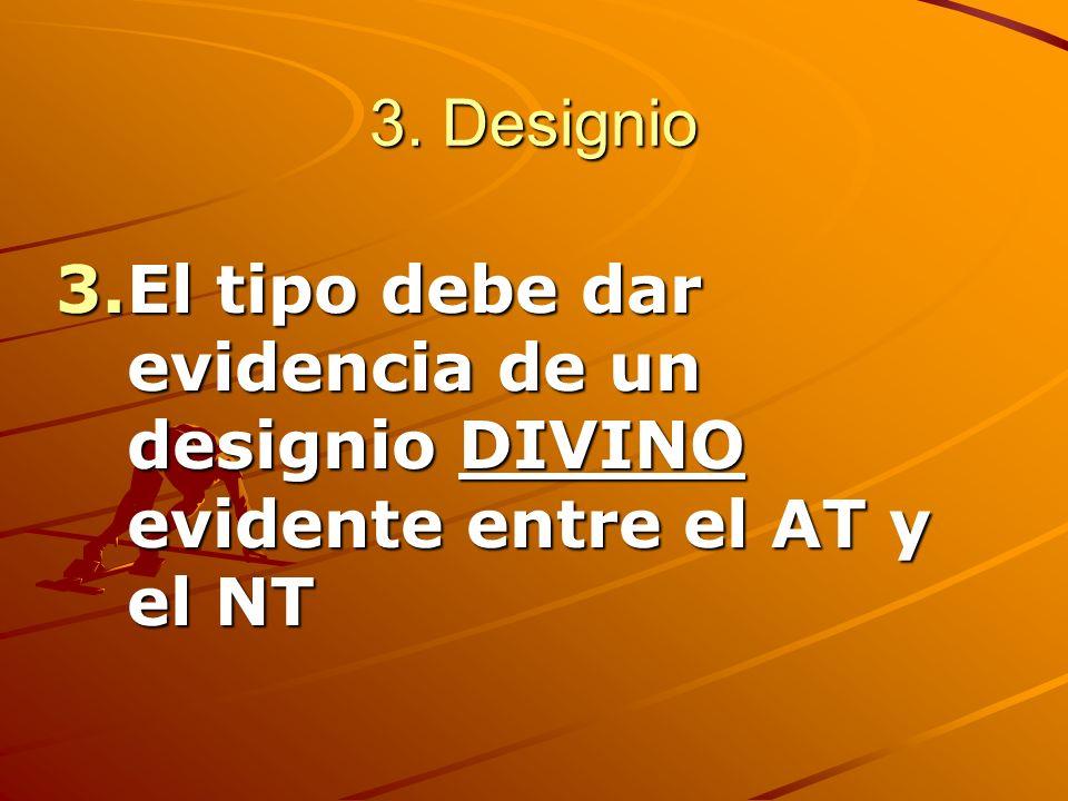 3. Designio 3.El tipo debe dar evidencia de un designio DIVINO evidente entre el AT y el NT