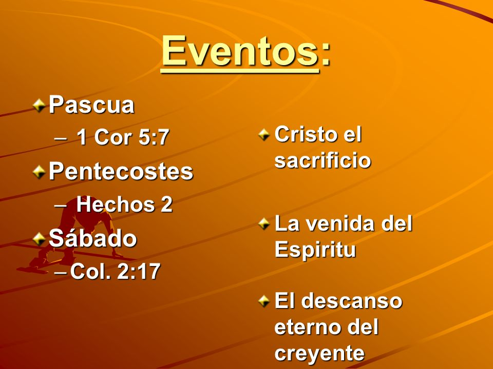 Eventos: Pascua – 1 Cor 5:7 Pentecostes – Hechos 2 Sábado –Col. 2:17 Cristo el sacrificio La venida del Espiritu El descanso eterno del creyente