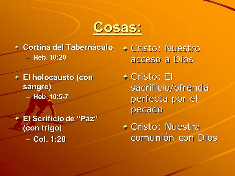 Cosas: Cortina del Tabernáculo –Heb. 10:20 El holocausto (con sangre) –Heb. 10:5-7 El Scrificio de Paz (con trigo) –Col. 1:20 Cristo: Nuestro acceso a