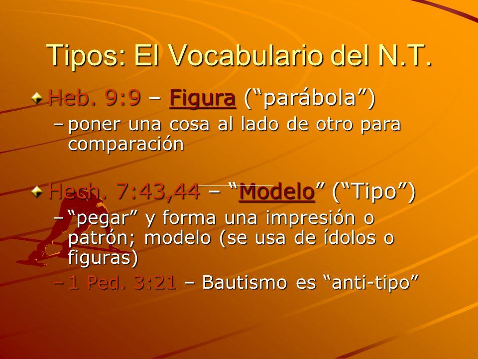 Tipos: El Vocabulario del N.T. Heb. 9:9 – Figura (parábola) –poner una cosa al lado de otro para comparación Hech. 7:43,44 – Modelo (Tipo) –pegar y fo