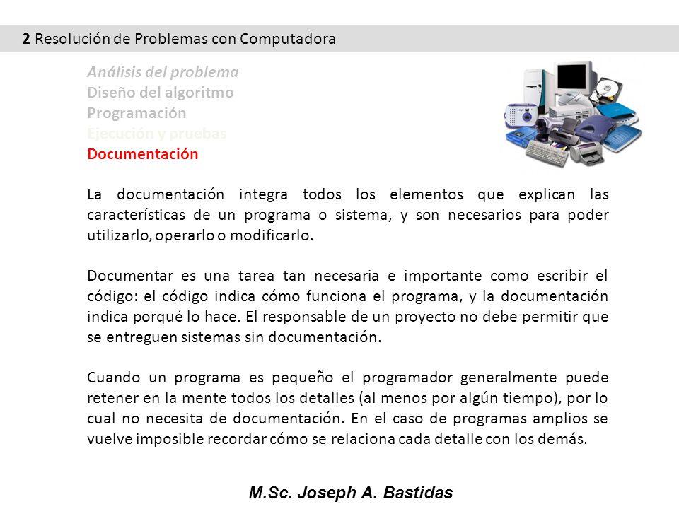 M.Sc. Joseph A. Bastidas 2 Resolución de Problemas con Computadora Análisis del problema Diseño del algoritmo Programación Ejecución y pruebas Documen