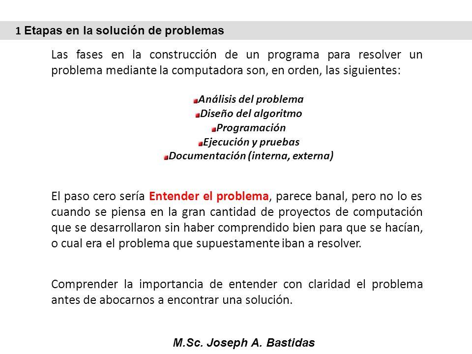 M.Sc. Joseph A. Bastidas Las fases en la construcción de un programa para resolver un problema mediante la computadora son, en orden, las siguientes: