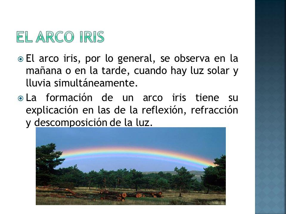 El arco iris, por lo general, se observa en la mañana o en la tarde, cuando hay luz solar y lluvia simultáneamente. La formación de un arco iris tiene