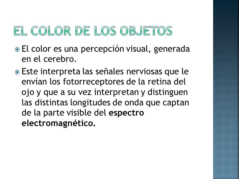 El color es una percepción visual, generada en el cerebro. Este interpreta las señales nerviosas que le envían los fotorreceptores de la retina del oj