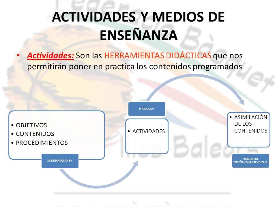 ACTIVIDADES Y MEDIOS DE ENSEÑANZA Actividades: Son las HERRAMIENTAS DIDÁCTICAS que nos permitirán poner en practica los contenidos programados OBJETIV