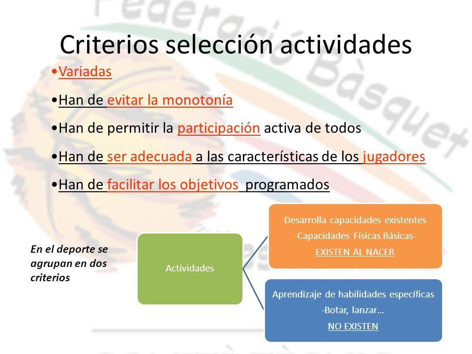 Criterios selección actividades Actividades Desarrolla capacidades existentes -Capacidades Físicas Básicas- EXISTEN AL NACER Aprendizaje de habilidade