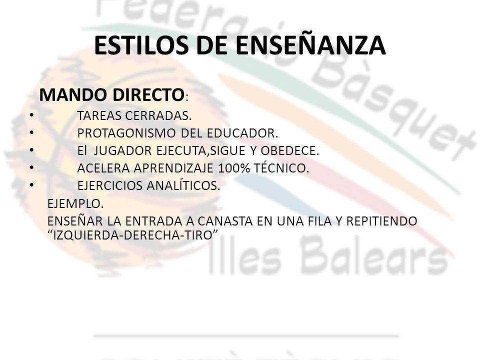 ESTILOS DE ENSEÑANZA MANDO DIRECTO : TAREAS CERRADAS. PROTAGONISMO DEL EDUCADOR. El JUGADOR EJECUTA,SIGUE Y OBEDECE. ACELERA APRENDIZAJE 100% TÉCNICO.
