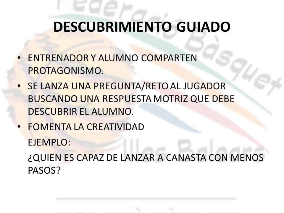 DESCUBRIMIENTO GUIADO ENTRENADOR Y ALUMNO COMPARTEN PROTAGONISMO. SE LANZA UNA PREGUNTA/RETO AL JUGADOR BUSCANDO UNA RESPUESTA MOTRIZ QUE DEBE DESCUBR