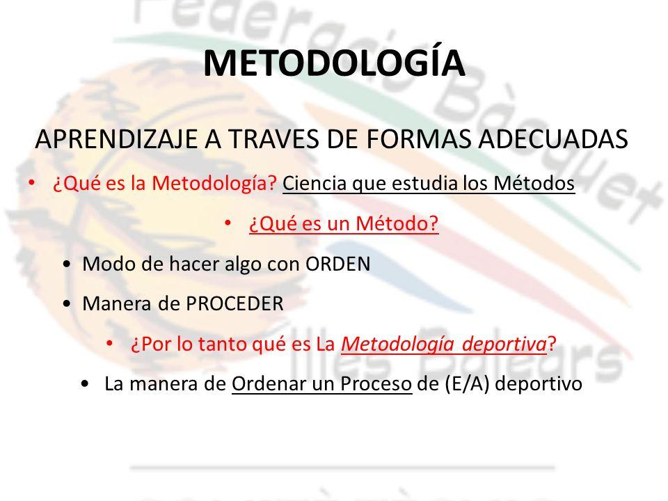 METODOLOGÍA APRENDIZAJE A TRAVES DE FORMAS ADECUADAS ¿Qué es la Metodología? Ciencia que estudia los Métodos ¿Qué es un Método? Modo de hacer algo con