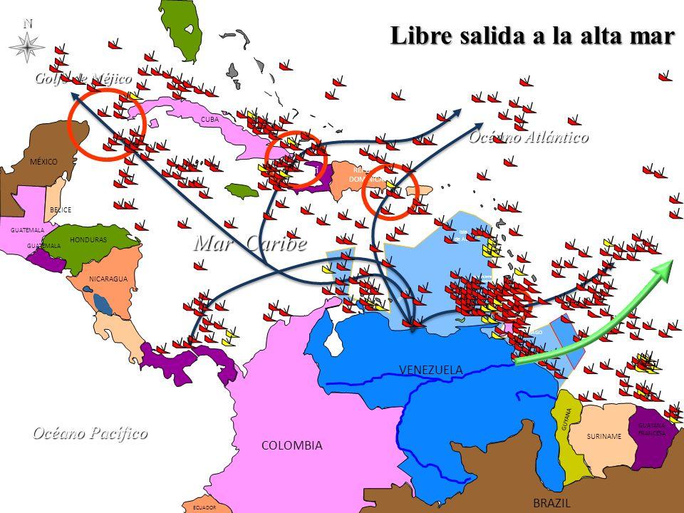 Golfo de Méjico Océano Pacífico Mar Caribe PANAMÁ COSTA RICA NICARAGUA HONDURAS EL SALVADOR GUATEMALA MÉXICO GUATEMALA CUBA LAS BAHAMAS Turcas y Caicos HAITÍ REPÚBLICA DOMINICANA JAMAICA PUERTO RICO Anguila ANTIGUA Y BARRBUDA SAN CRISTÓBAL Y NIEVES Guadalupe DOMINICA SANTA LUCIA Martinica SAN VICENTE Y LAS GRANADINAS BARBADOS GRANADA TRINIDAD Y TOBAGO Aruba Curazao Bonaire GUAYANA FRANCESA SURINAME GUYANA VENEZUELA COLOMBIA ECUADOR Islas Caimán ESTADOS UNIDOS BELICE BRAZILN Océano Atlántico Libre salida a la alta mar Isla de Aves
