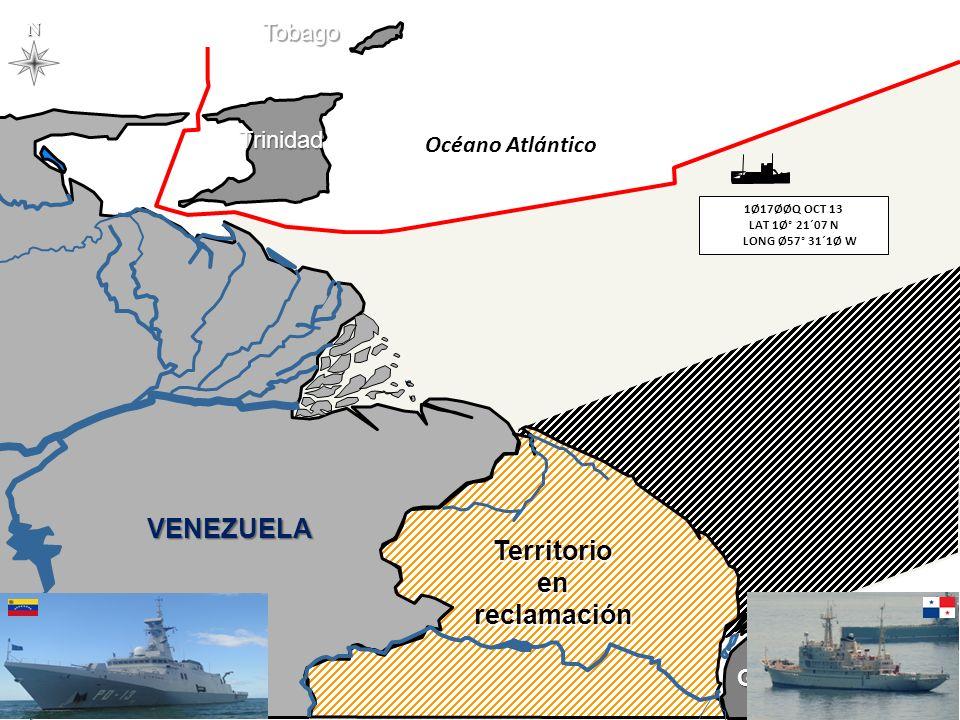 N Océano Atlántico VENEZUELA GUYANA Territorioenreclamación TrinidadTobago Venezuela – Trinidad & Tobago - 1991 1Ø17ØØQ OCT 13 LAT 1Ø° 21´07 N LONG Ø57° 31´1Ø W