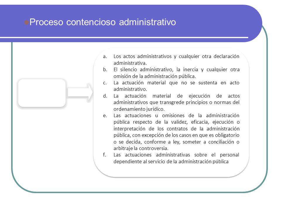 Actuaciones impugnables a.Los actos administrativos y cualquier otra declaración administrativa. b.El silencio administrativo, la inercia y cualquier