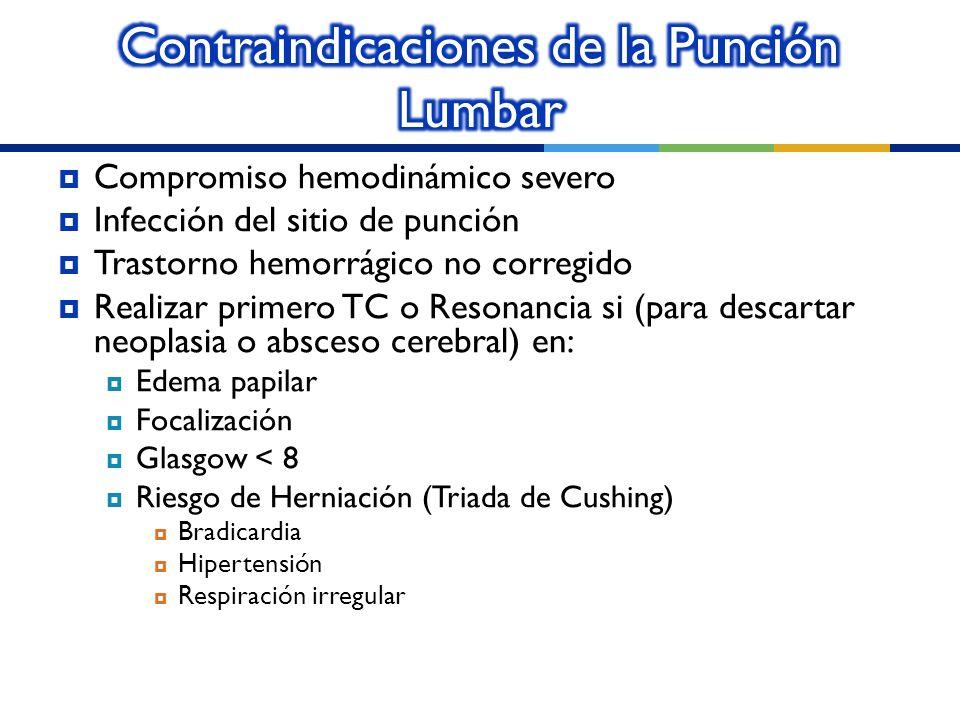 Compromiso hemodinámico severo Infección del sitio de punción Trastorno hemorrágico no corregido Realizar primero TC o Resonancia si (para descartar n