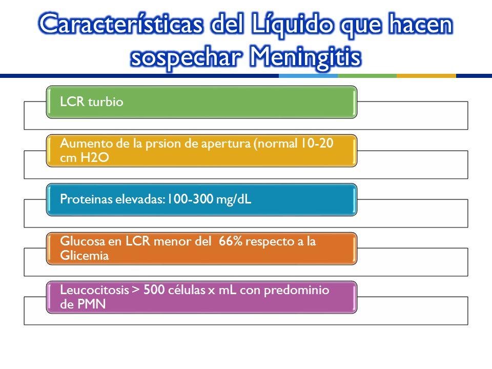 LCR turbio Aumento de la prsion de apertura (normal 10-20 cm H2O Proteinas elevadas: 100-300 mg/dL Glucosa en LCR menor del 66% respecto a la Glicemia