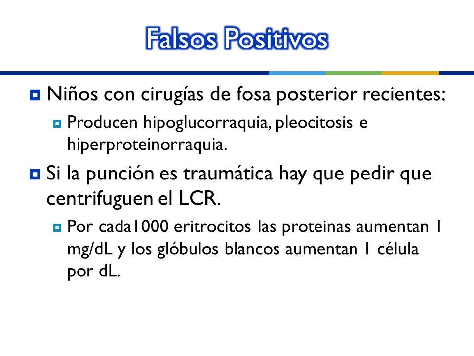 Niños con cirugías de fosa posterior recientes: Producen hipoglucorraquia, pleocitosis e hiperproteinorraquia. Si la punción es traumática hay que ped