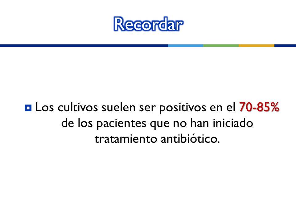70-85% Los cultivos suelen ser positivos en el 70-85% de los pacientes que no han iniciado tratamiento antibiótico.