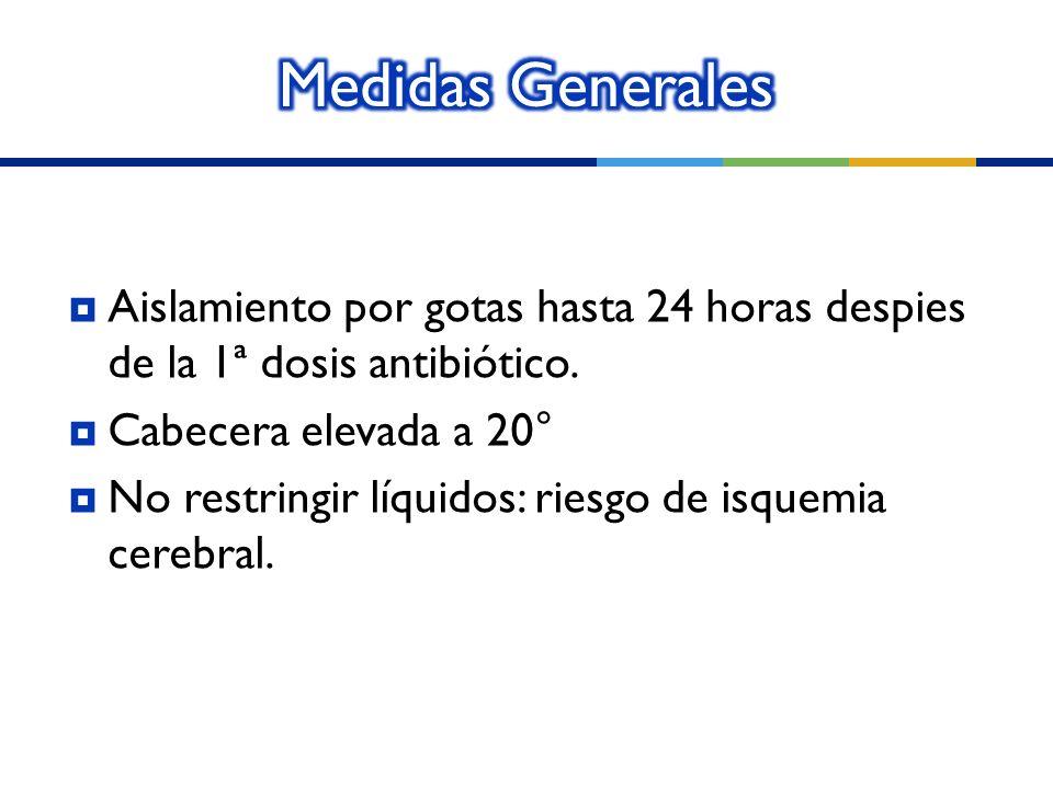 Aislamiento por gotas hasta 24 horas despies de la 1ª dosis antibiótico. Cabecera elevada a 20° No restringir líquidos: riesgo de isquemia cerebral.