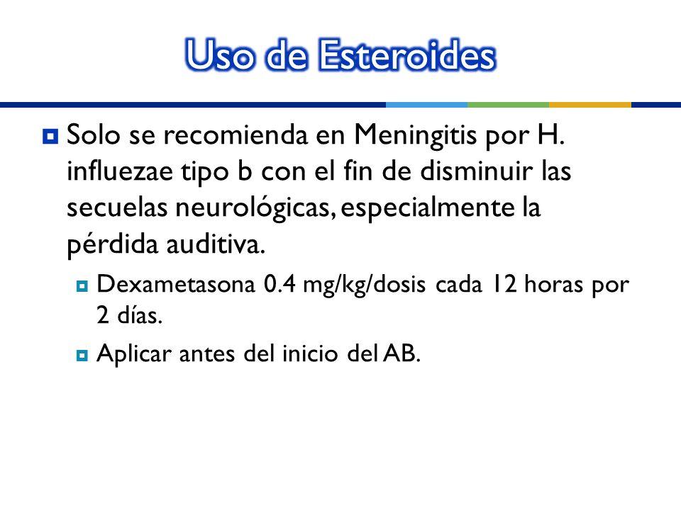 Solo se recomienda en Meningitis por H. influezae tipo b con el fin de disminuir las secuelas neurológicas, especialmente la pérdida auditiva. Dexamet
