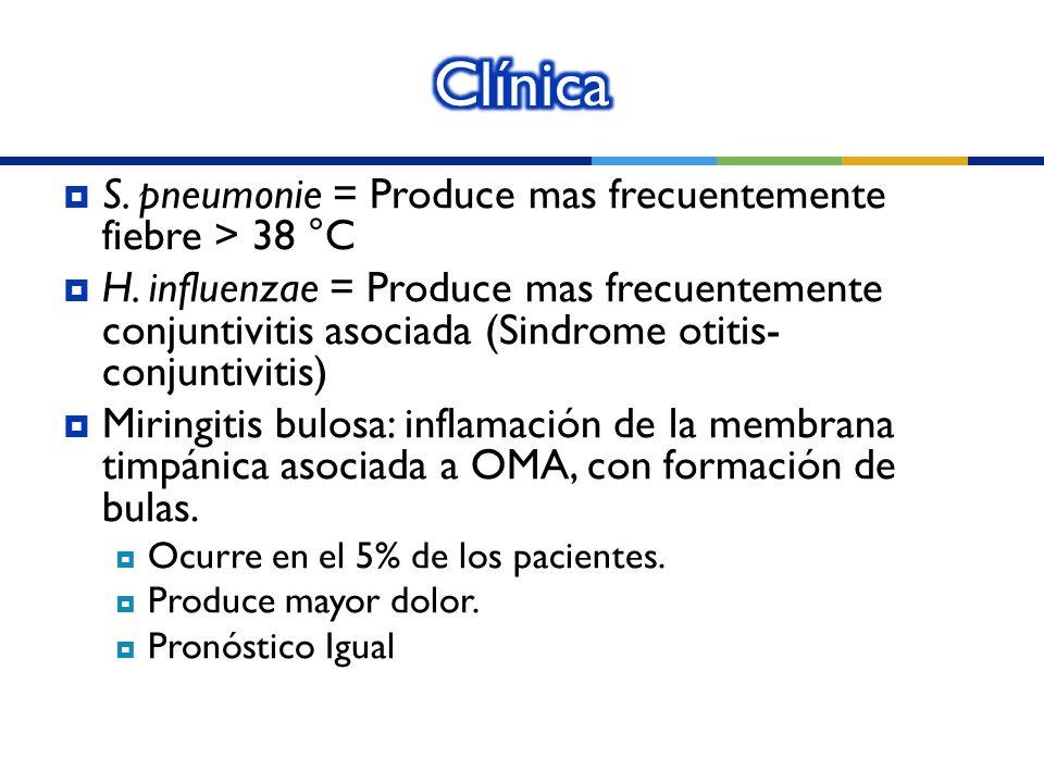 S. pneumonie = Produce mas frecuentemente fiebre > 38 °C H. influenzae = Produce mas frecuentemente conjuntivitis asociada (Sindrome otitis- conjuntiv