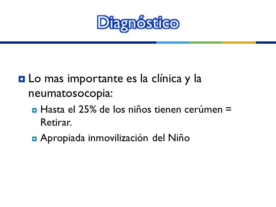 Lo mas importante es la clínica y la neumatosocopia: Hasta el 25% de los niños tienen cerúmen = Retirar. Apropiada inmovilización del Niño