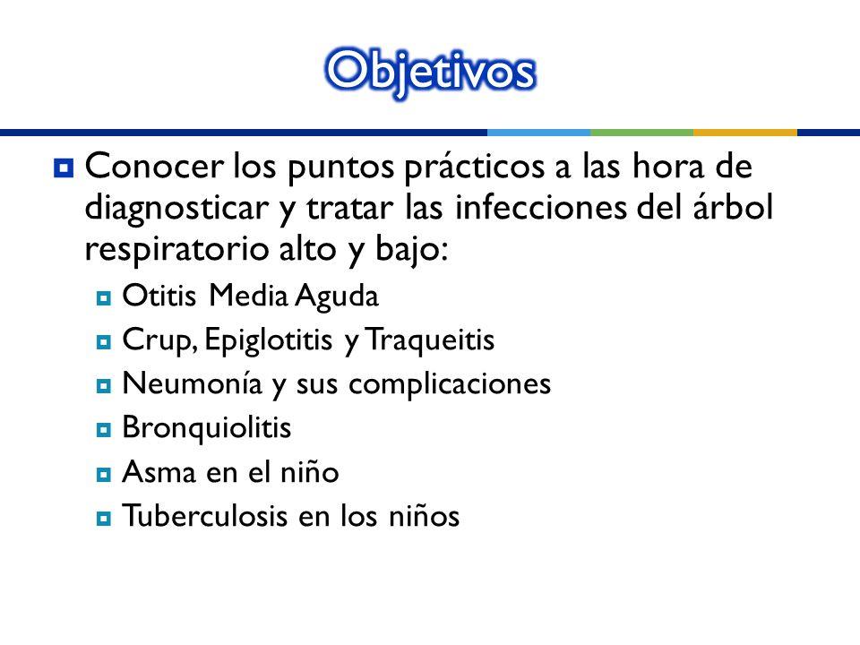 Conocer los puntos prácticos a las hora de diagnosticar y tratar las infecciones del árbol respiratorio alto y bajo: Otitis Media Aguda Crup, Epigloti