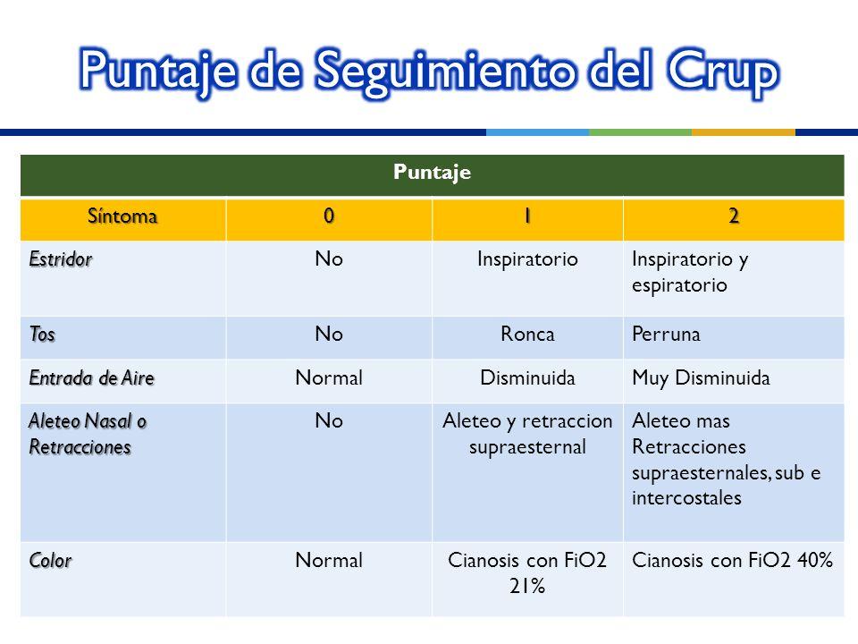 PuntajeSíntoma012 EstridorNoInspiratorioInspiratorio y espiratorio TosNoRoncaPerruna Entrada de Aire NormalDisminuidaMuy Disminuida Aleteo Nasal o Ret