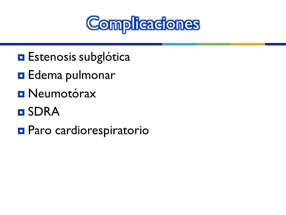 Estenosis subglótica Edema pulmonar Neumotórax SDRA Paro cardiorespiratorio