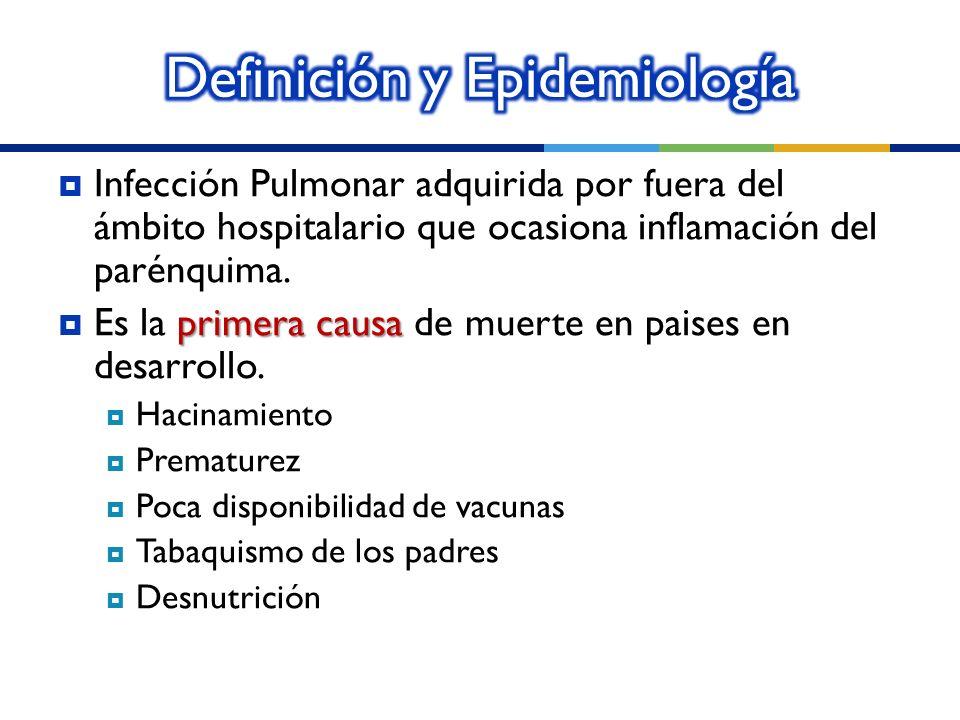 Infección Pulmonar adquirida por fuera del ámbito hospitalario que ocasiona inflamación del parénquima. primera causa Es la primera causa de muerte en