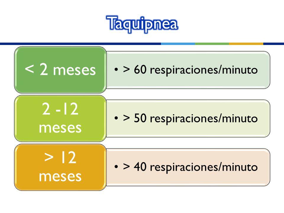 > 60 respiraciones/minuto < 2 meses > 50 respiraciones/minuto 2 -12 meses > 40 respiraciones/minuto > 12 meses