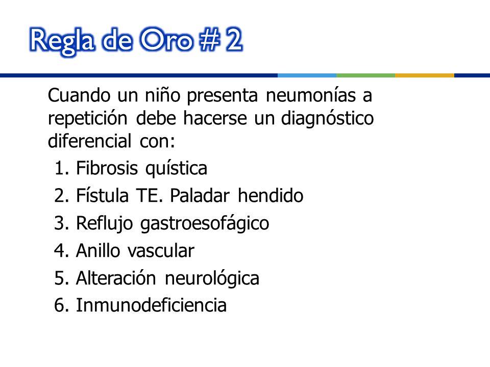 Cuando un niño presenta neumonías a repetición debe hacerse un diagnóstico diferencial con: 1. Fibrosis quística 2. Fístula TE. Paladar hendido 3. Ref