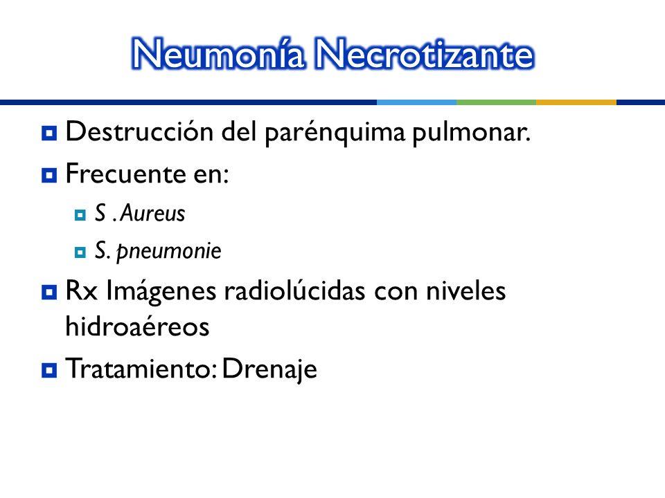 Destrucción del parénquima pulmonar. Frecuente en: S. Aureus S. pneumonie Rx Imágenes radiolúcidas con niveles hidroaéreos Tratamiento: Drenaje