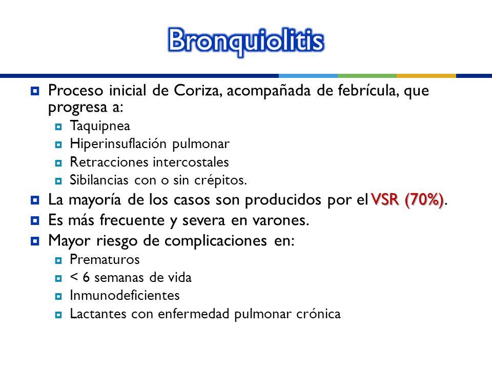 Proceso inicial de Coriza, acompañada de febrícula, que progresa a: Taquipnea Hiperinsuflación pulmonar Retracciones intercostales Sibilancias con o s