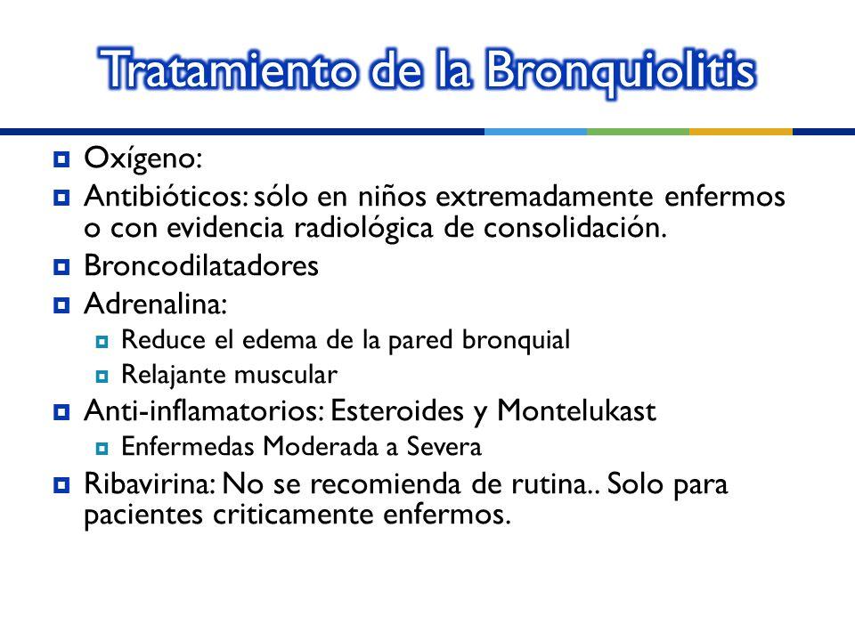 Oxígeno: Antibióticos: sólo en niños extremadamente enfermos o con evidencia radiológica de consolidación. Broncodilatadores Adrenalina: Reduce el ede