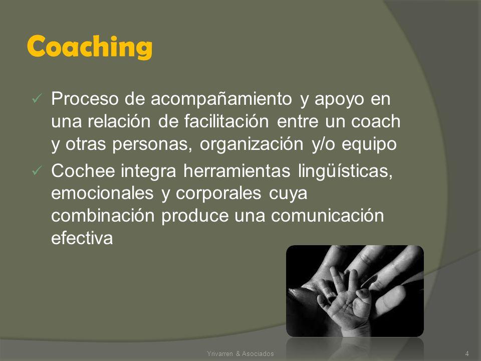 Coaching Proceso de acompañamiento y apoyo en una relación de facilitación entre un coach y otras personas, organización y/o equipo Cochee integra herramientas lingüísticas, emocionales y corporales cuya combinación produce una comunicación efectiva Yrivarren & Asociados4