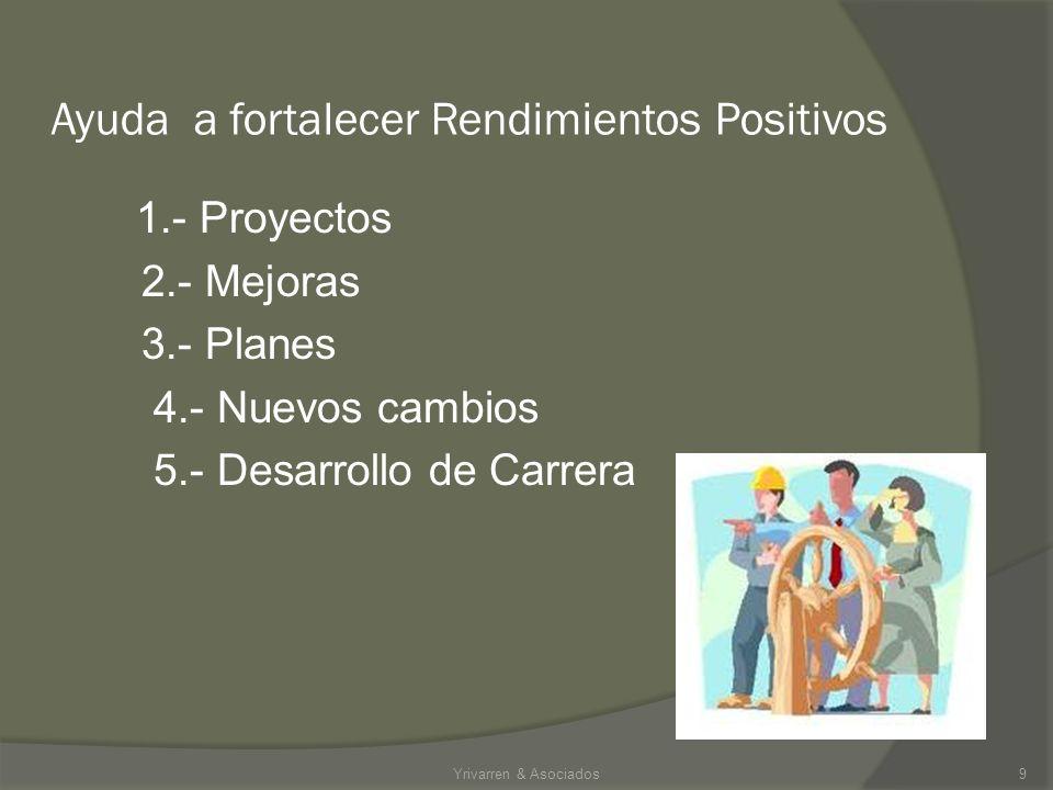 Ayuda a fortalecer Rendimientos Positivos 1.- Proyectos 2.- Mejoras 3.- Planes 4.- Nuevos cambios 5.- Desarrollo de Carrera Yrivarren & Asociados9