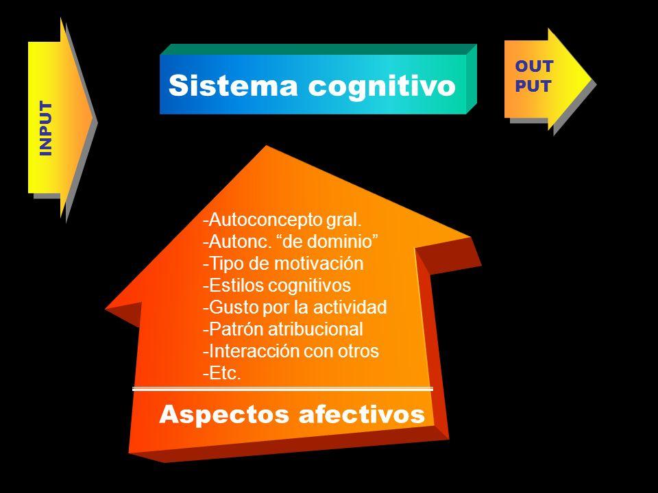Aspectos afectivos -Autoconcepto gral. -Autonc. de dominio -Tipo de motivación -Estilos cognitivos -Gusto por la actividad -Patrón atribucional -Inter