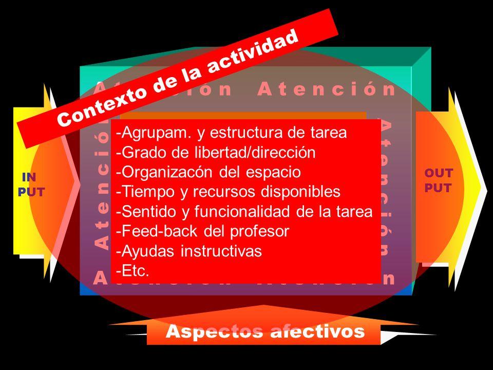 A t e n c i ó n Procesos operativos Base de Conocimiento OUT PUT IN PUT Aspectos afectivos Sistema de Autorregulación Contexto de la actividad -Agrupa