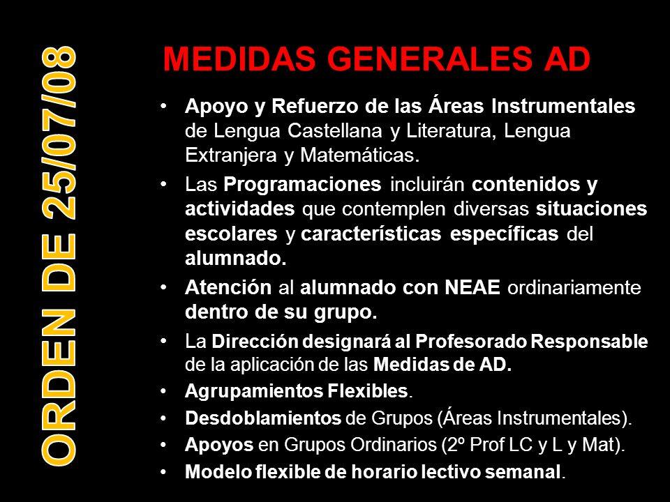 MEDIDAS GENERALES AD Apoyo y Refuerzo de las Áreas Instrumentales de Lengua Castellana y Literatura, Lengua Extranjera y Matemáticas. Las Programacion