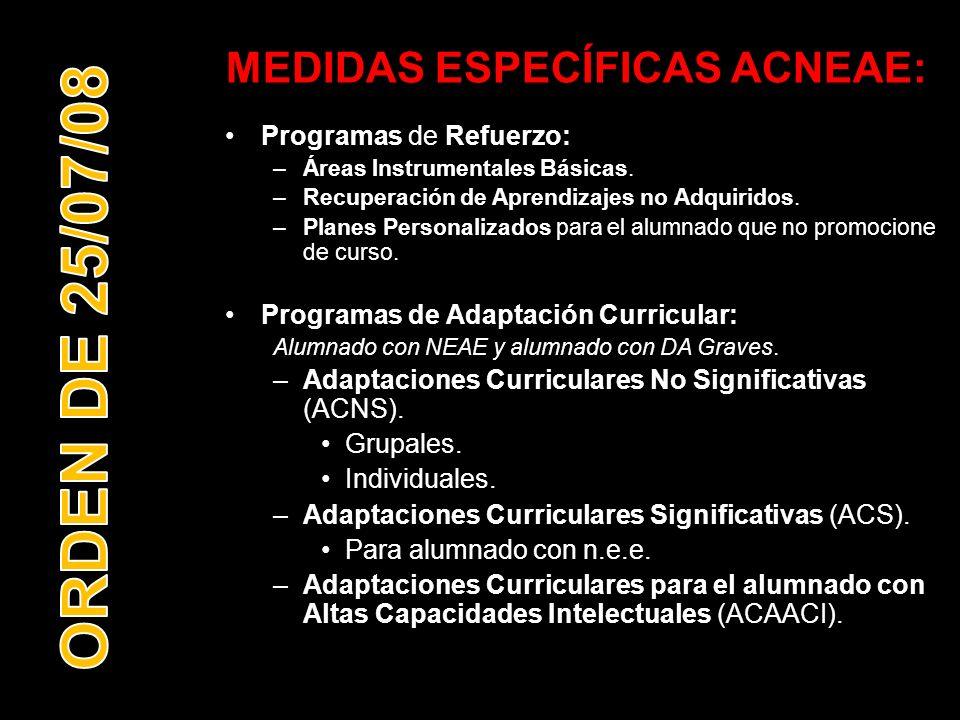 MEDIDAS ESPECÍFICAS ACNEAE: Programas de Refuerzo: –Áreas Instrumentales Básicas. –Recuperación de Aprendizajes no Adquiridos. –Planes Personalizados