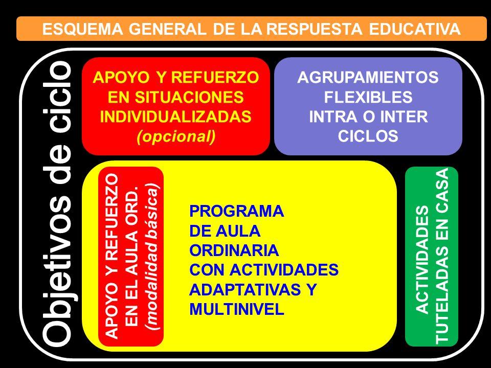 ESQUEMA GENERAL DE LA RESPUESTA EDUCATIVA APOYO Y REFUERZO EN SITUACIONES INDIVIDUALIZADAS (opcional) AGRUPAMIENTOS FLEXIBLES INTRA O INTER CICLOS APO