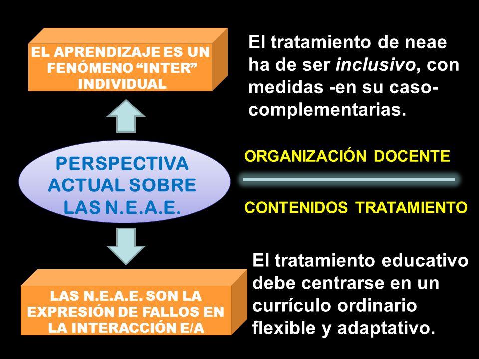 PERSPECTIVA ACTUAL SOBRE LAS N.E.A.E. EL APRENDIZAJE ES UN FENÓMENO INTER INDIVIDUAL LAS N.E.A.E. SON LA EXPRESIÓN DE FALLOS EN LA INTERACCIÓN E/A El