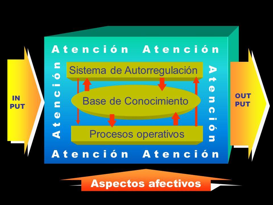 A t e n c i ó n Sistema de Autorregulación Procesos operativos Base de Conocimiento OUT PUT IN PUT Aspectos afectivos