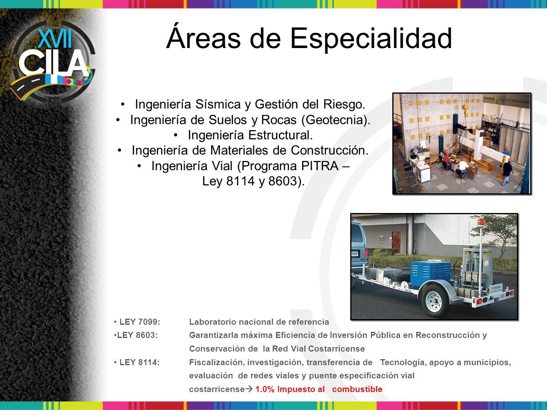 Áreas de Especialidad Ingeniería Sísmica y Gestión del Riesgo.