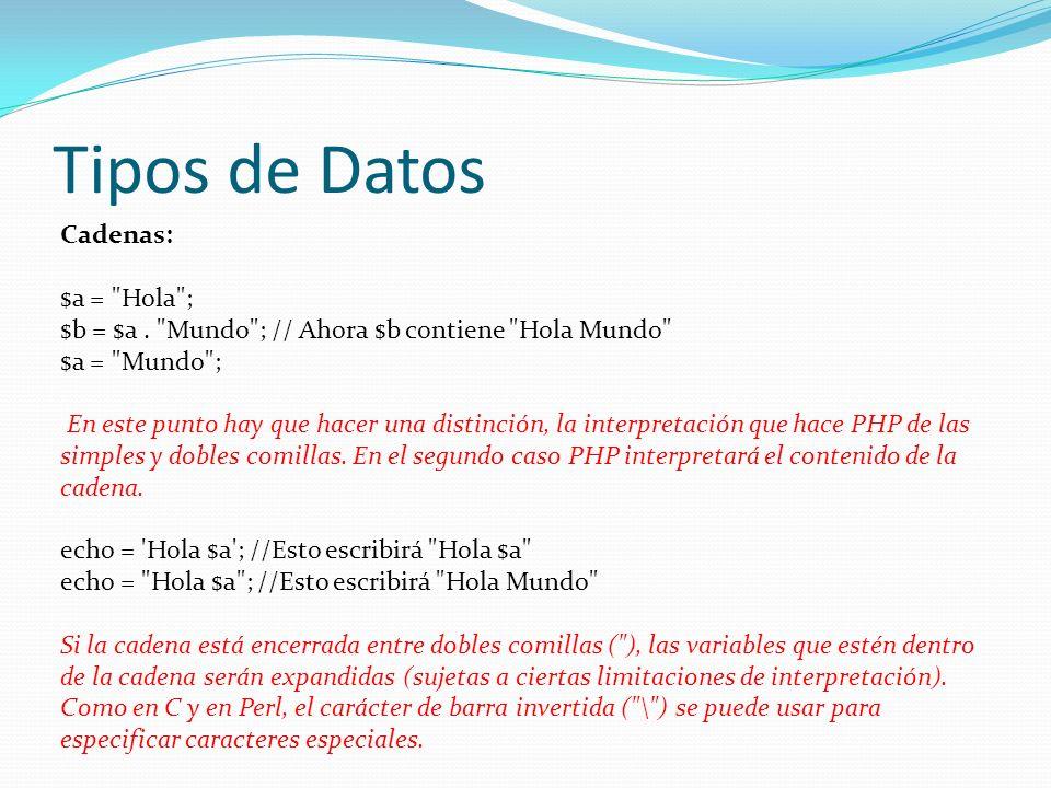 Tipos de Datos Cadenas: $a = Hola ; $b = $a.